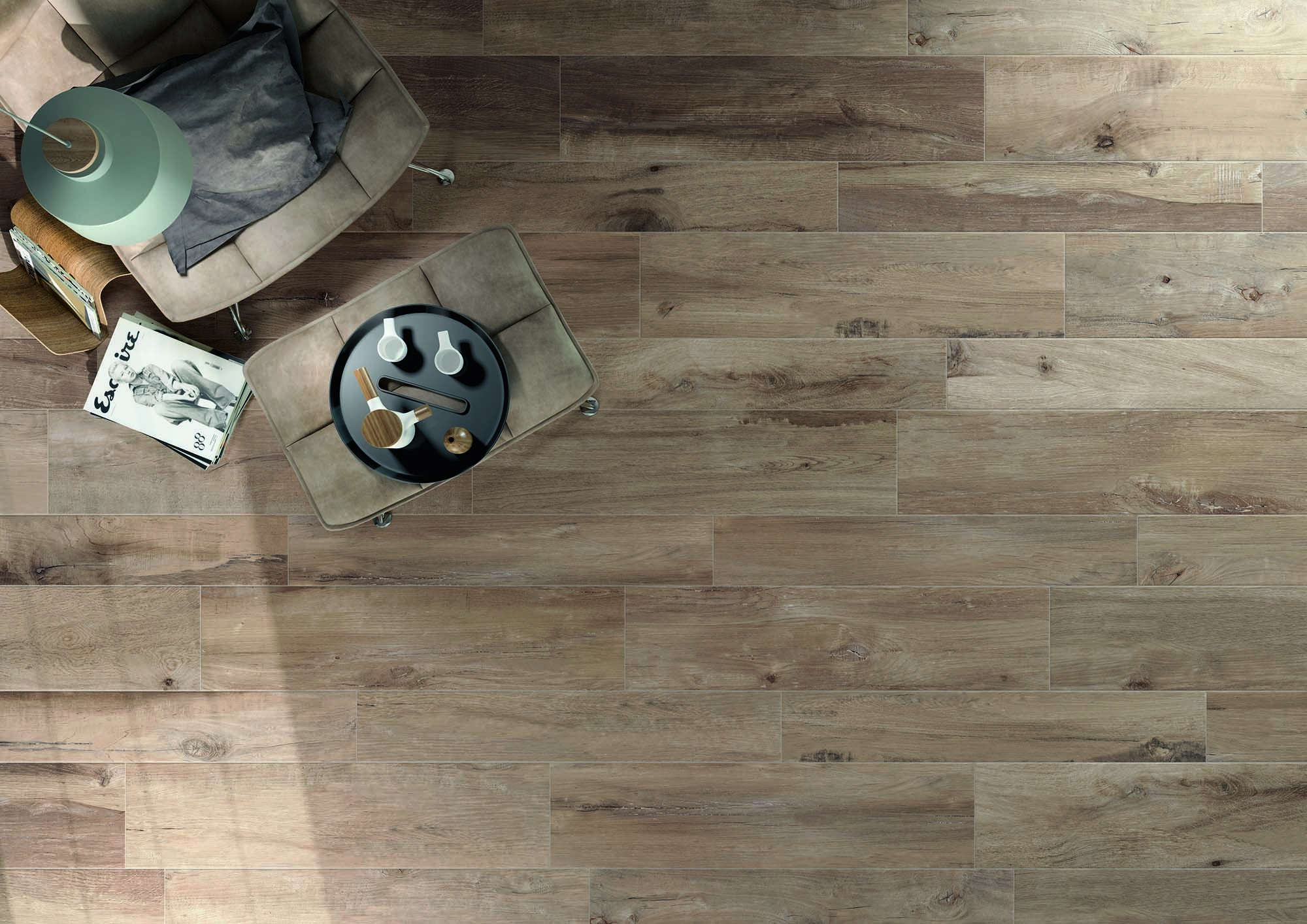Wood like porcelain floor tiles