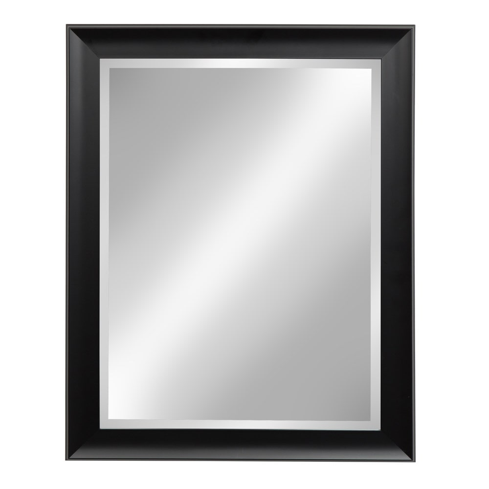 Large black framed wall mirror