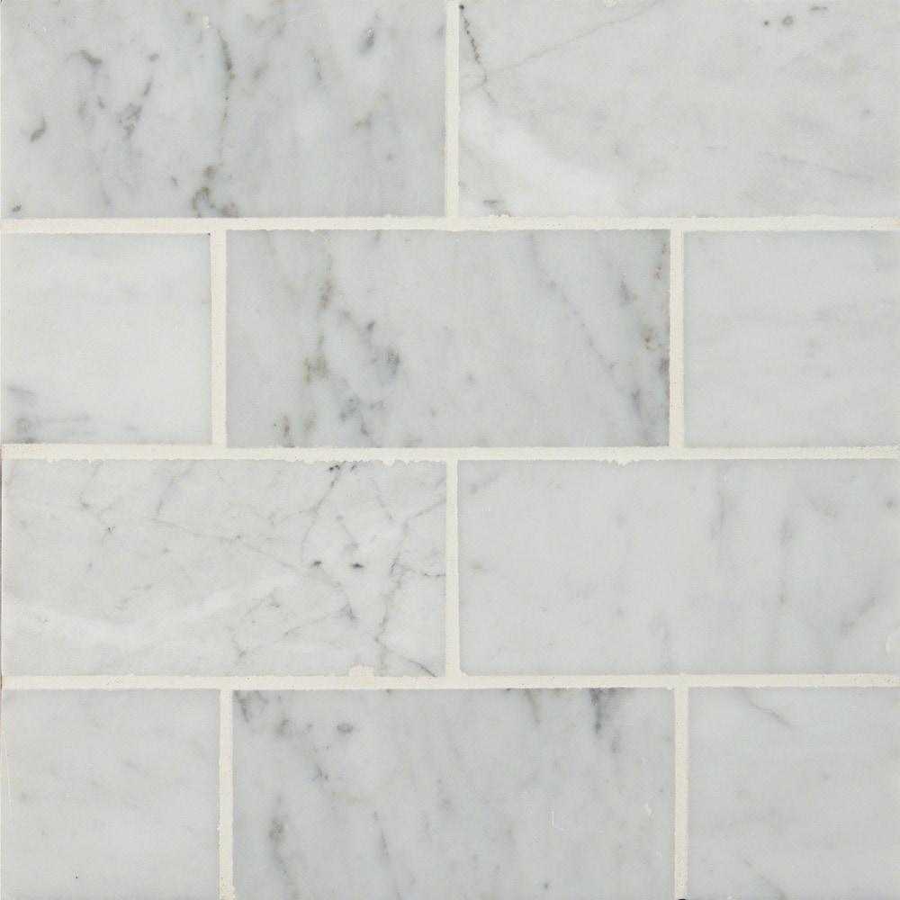 White carrara subway tile