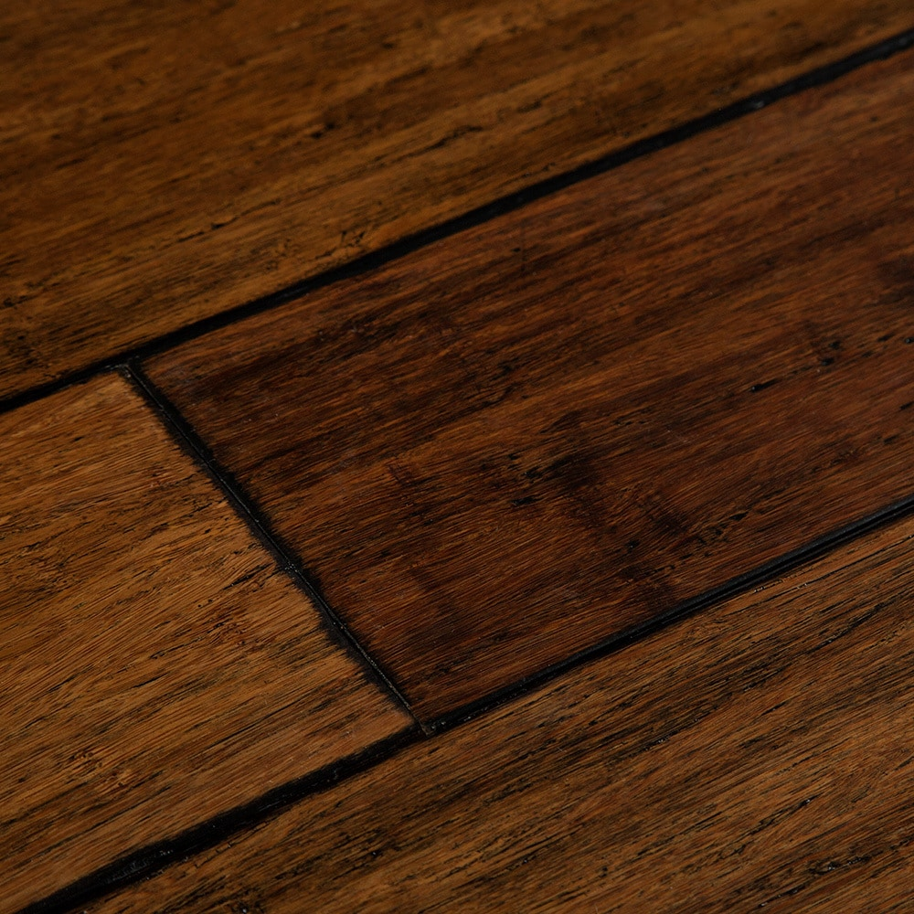 Yanchi Underpad Attached Distressed Solid Strand Woven Bamboo Flooring Tawny With Ixpe 9 16 X 4 7 8 72 3
