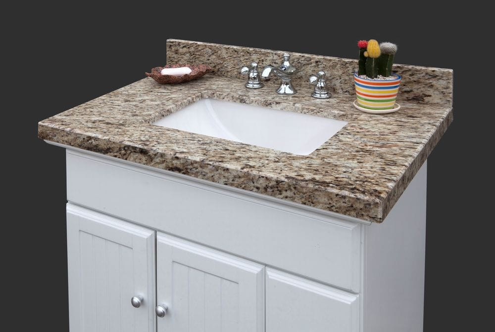 Pedra Granite Vanity Top With Um Trough Bowl Giallo Ornamental 37