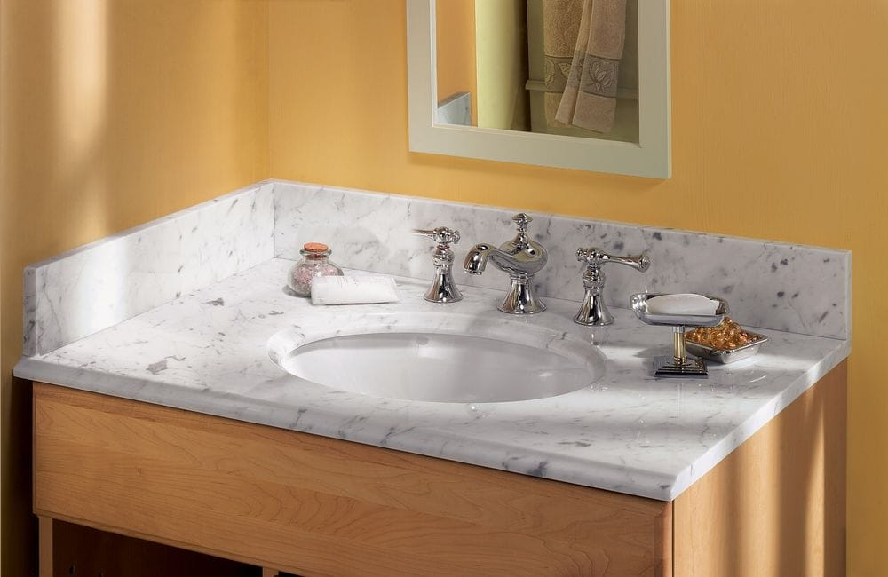 Pedra Marble Vanity Top With Um Oval Bowl Carrara Marble 37x22x3