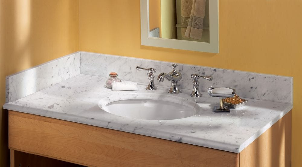 Pedra Marble Vanity Top With Um Oval Bowl Carrara Marble 49x22x3