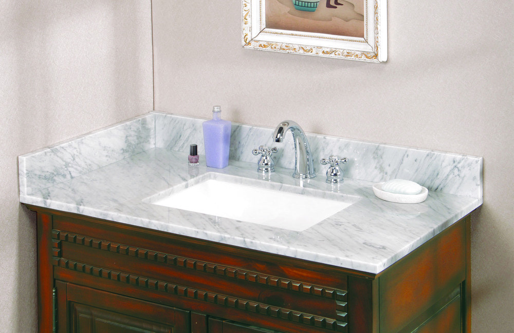 Pedra Marble Vanity Top With Um Trough Bowl Carrara Marble 37x22