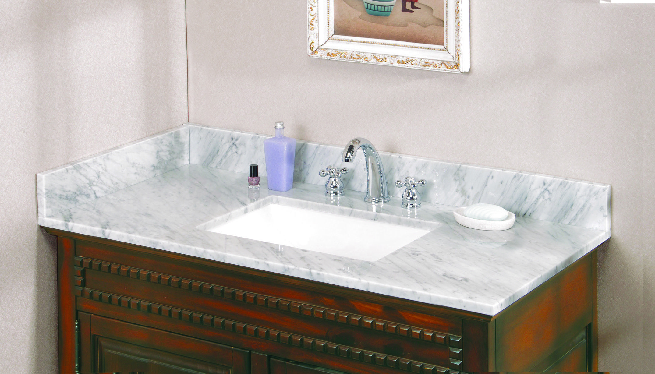Pedra marble vanity top with um trough bowl carrara marble 49x22x3 4 single bowl eased edge 3 holes at 8 offset