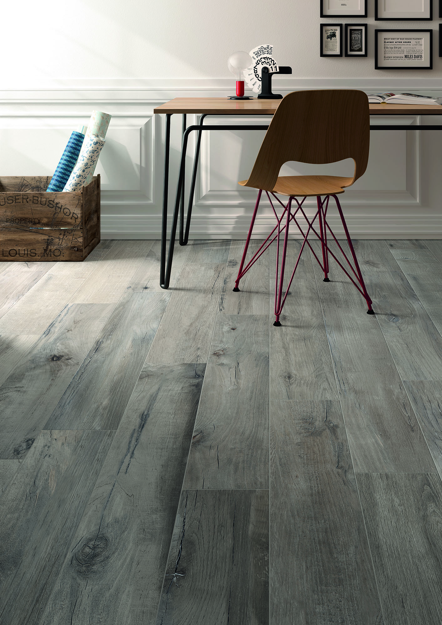 Torino Italian Porcelain Tile Rustic Sequoia Collection Sierra Gray 8 X48