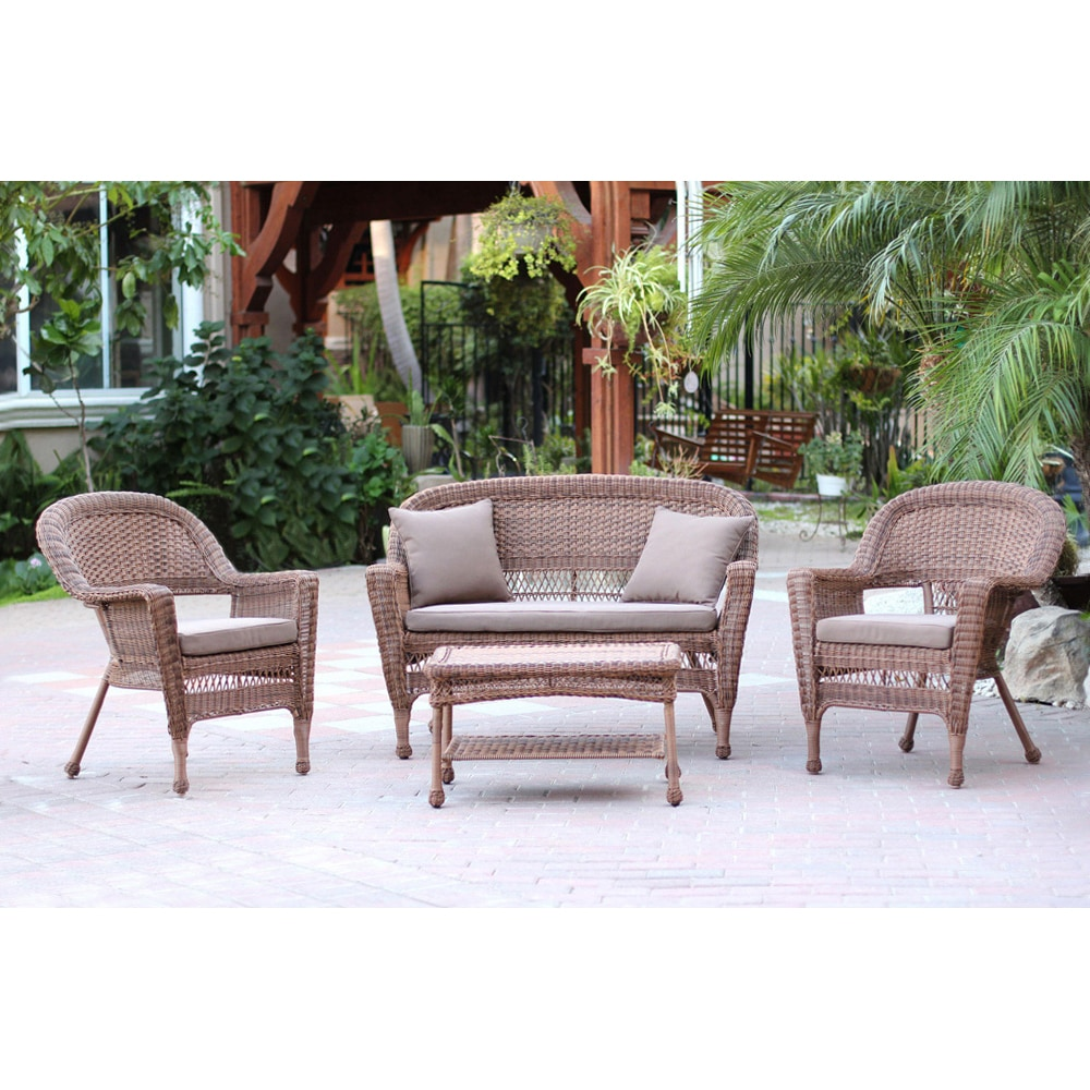 Kontiki Conversation Sets Wicker Chat Sets Honey Wicker 4 Piece Chat Set