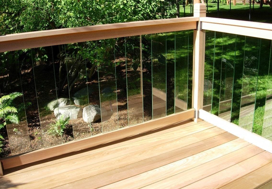 Glass railings for decks - Railsimple Cedar Glass Railing Kits Clearview Series 42 Rail Kit 32 1 4 Glass 6