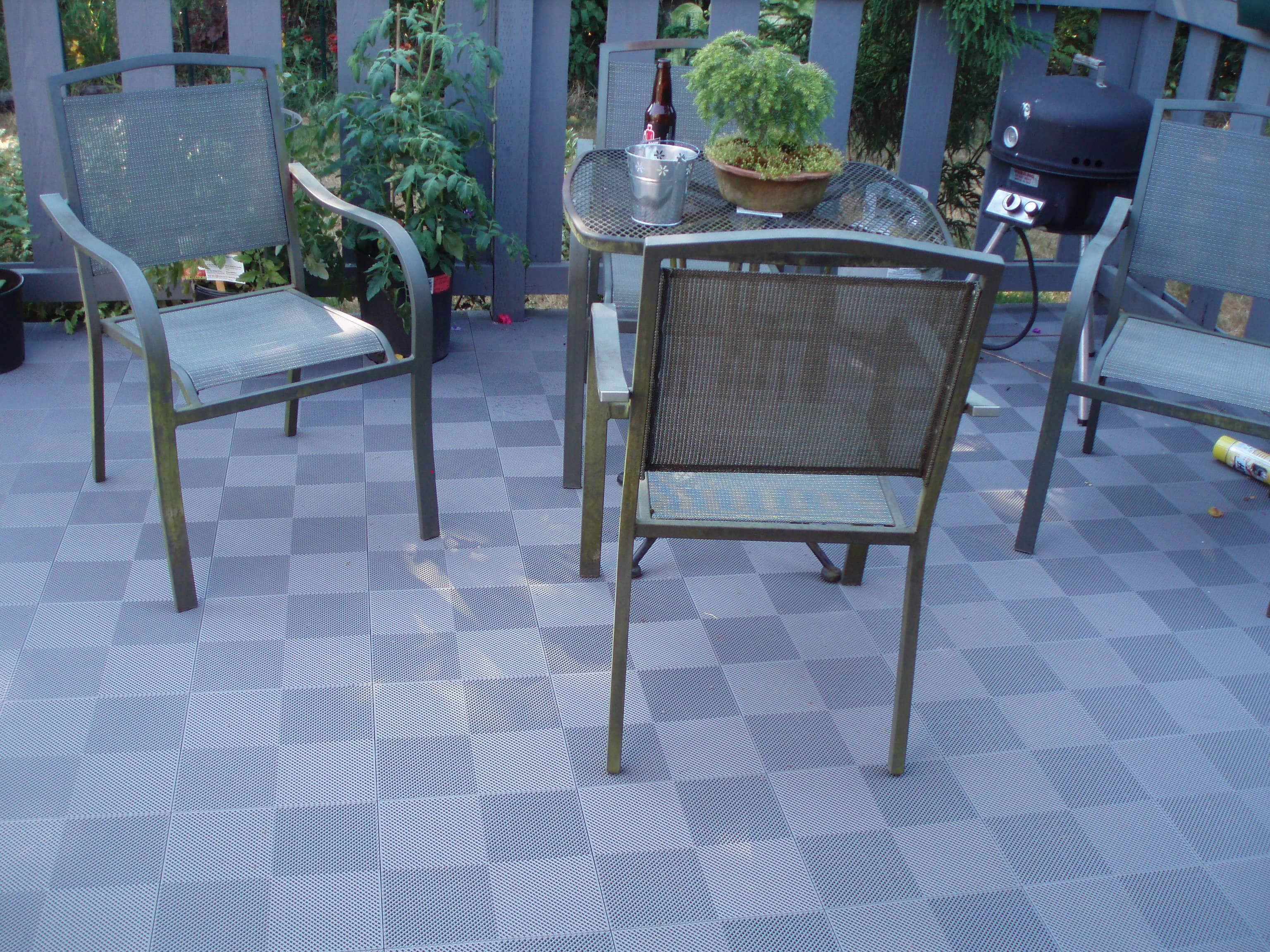 BlockTile Interlocking Deck Tiles Multi Purpose Perforated Gray