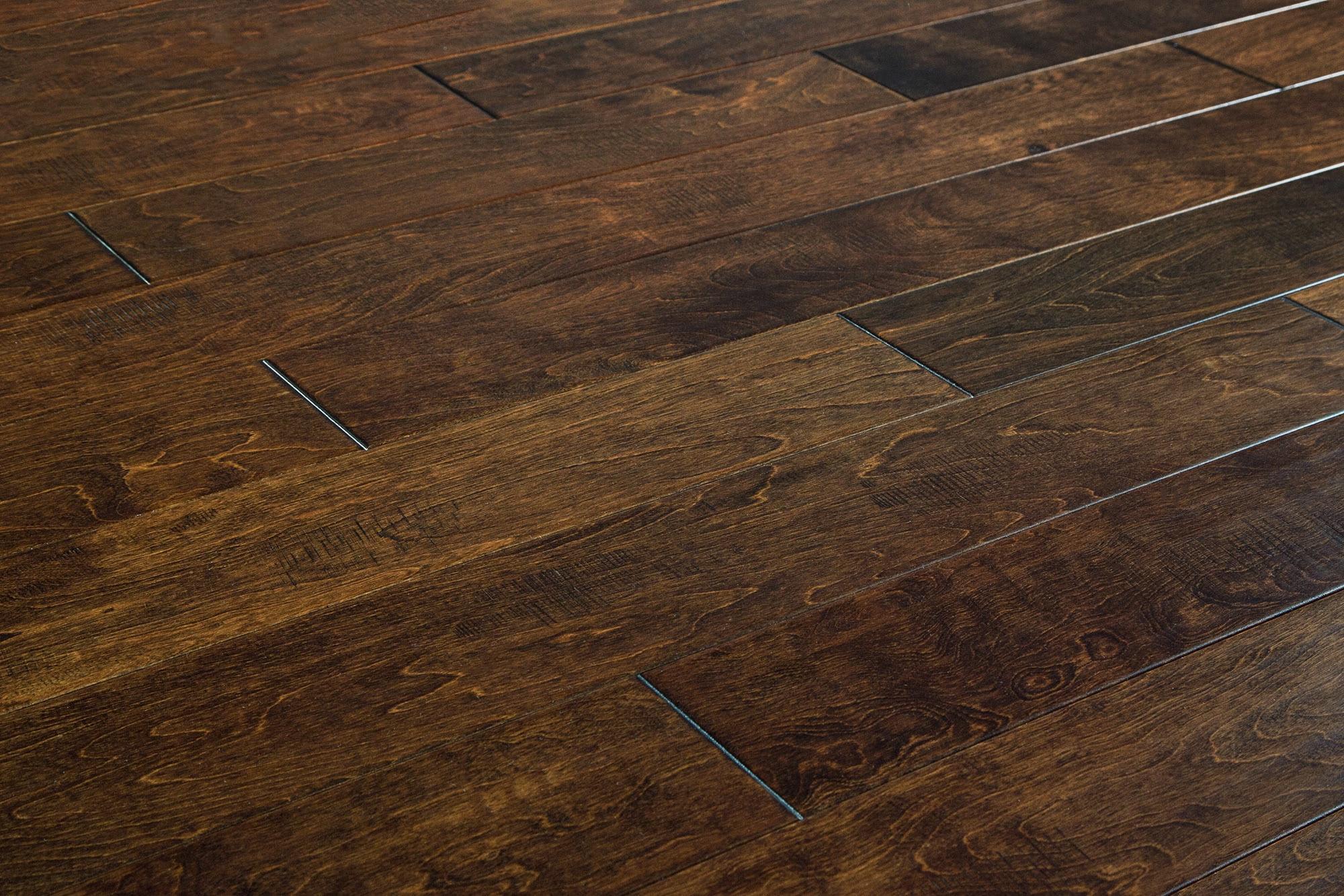 "Maple - Chocolate / 5"" / 1/2"" / Random Lengths Engineered Hardwood - Handscraped Maple Old West Collection 0"