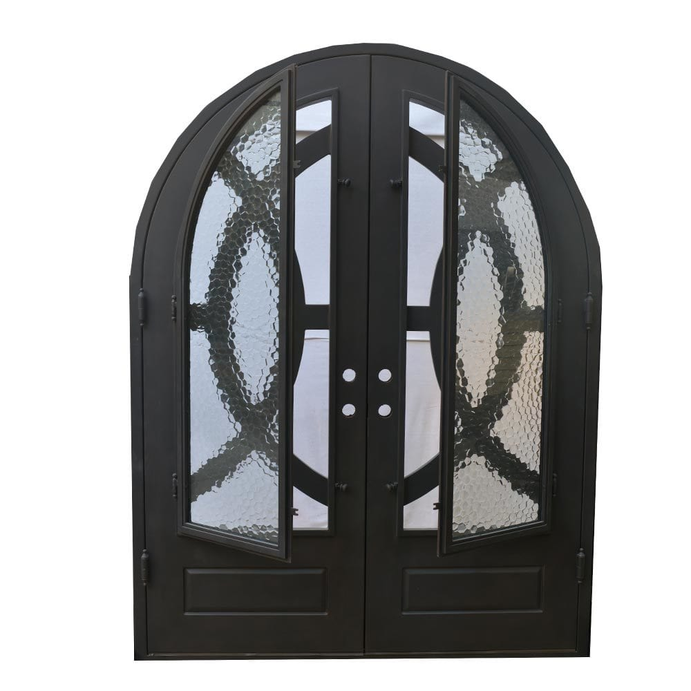 Grafton Exterior Wrought Iron Glass Doors Eclipse Collection Black Right Hand Inswing 98 X74