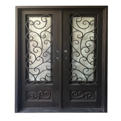 Exterior Wrought Iron Glass Doors Fern Collection   Black Right Hand Inswin  .
