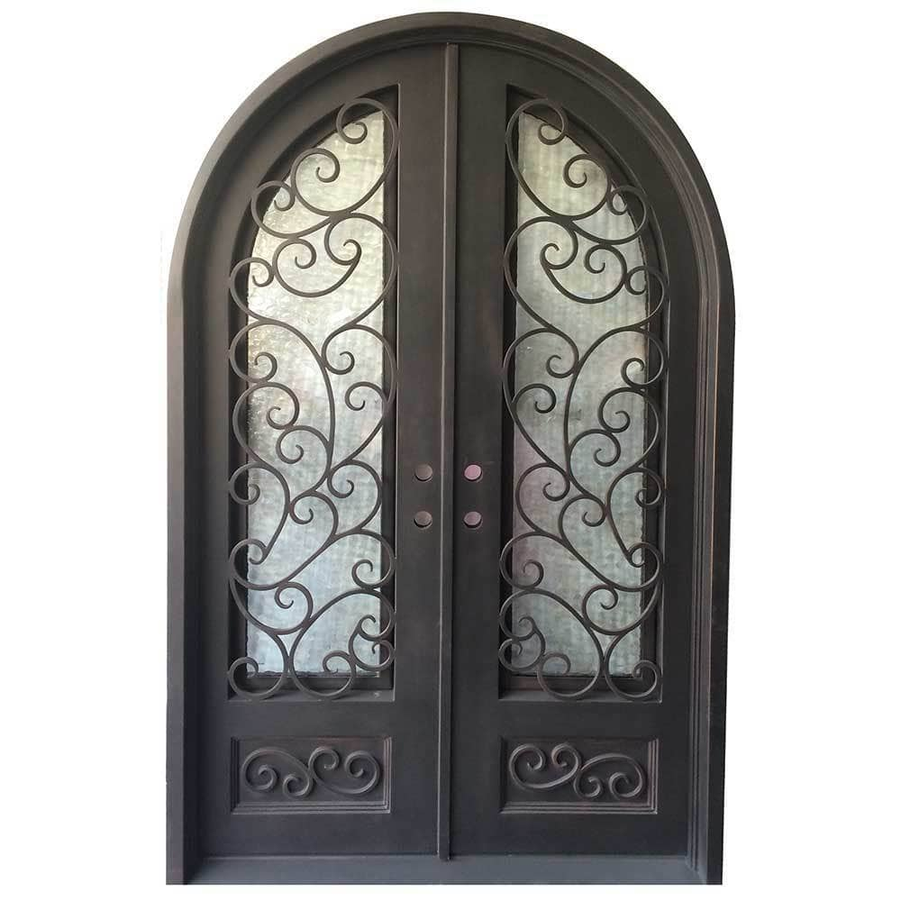 Grafton Exterior Wrought Iron Glass Doors Fern Collection Black Right Hand Inswing 98 X62 Round Top