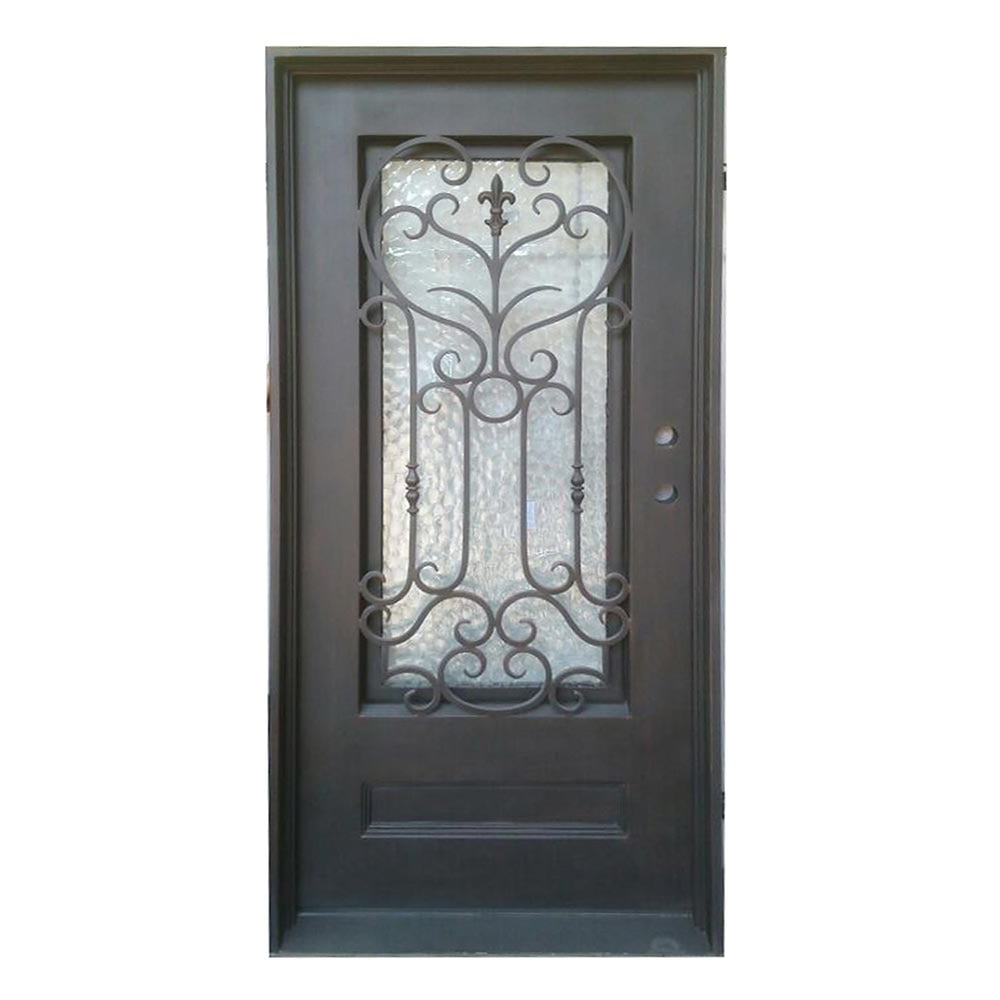 Grafton Exterior Wrought Iron Glass Doors Roman Collection Black