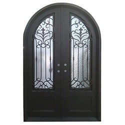 exterior wrought iron glass doors roman collection black right hand inswi