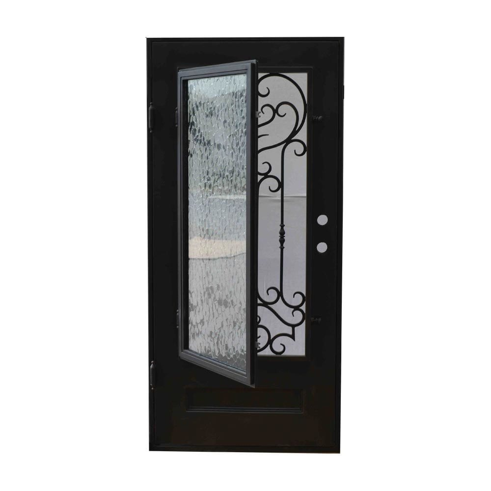 Grafton Exterior Wrought Iron Glass Doors Vine Collection Black Right Hand Inswing 82 X38 Flat Top