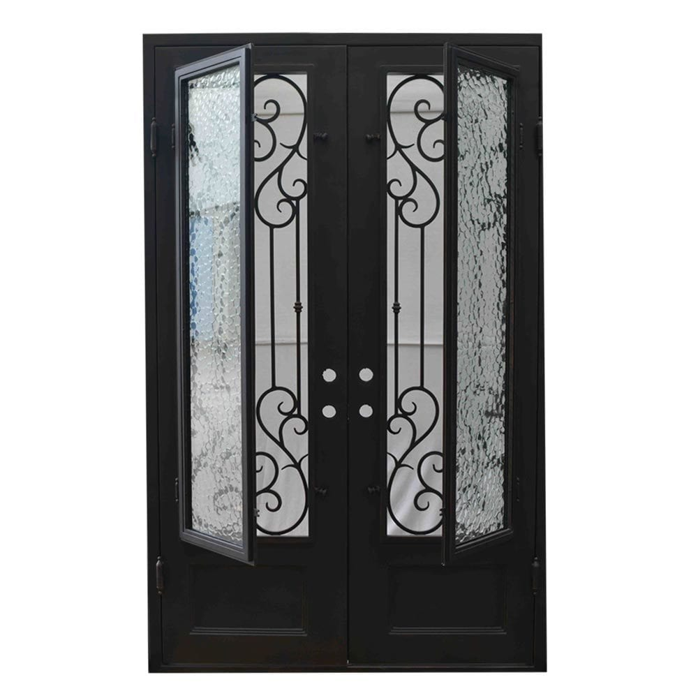 Grafton Exterior Wrought Iron Glass Doors Vine Collection Black Right Hand Inswing 98 X62 Flat Top