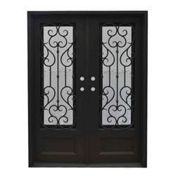 Exterior Wrought Iron Glass Doors Vine Collection   Black Right Hand Inswin  .