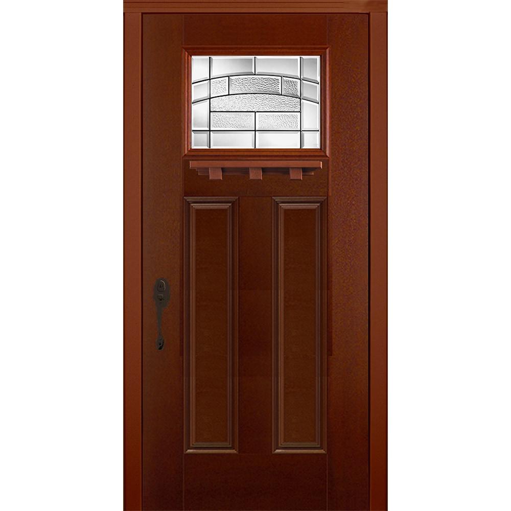 New Concept Exterior Doors Pre Hung Textured Fiberglass Element Fox Tail Pre Finished 80 X36