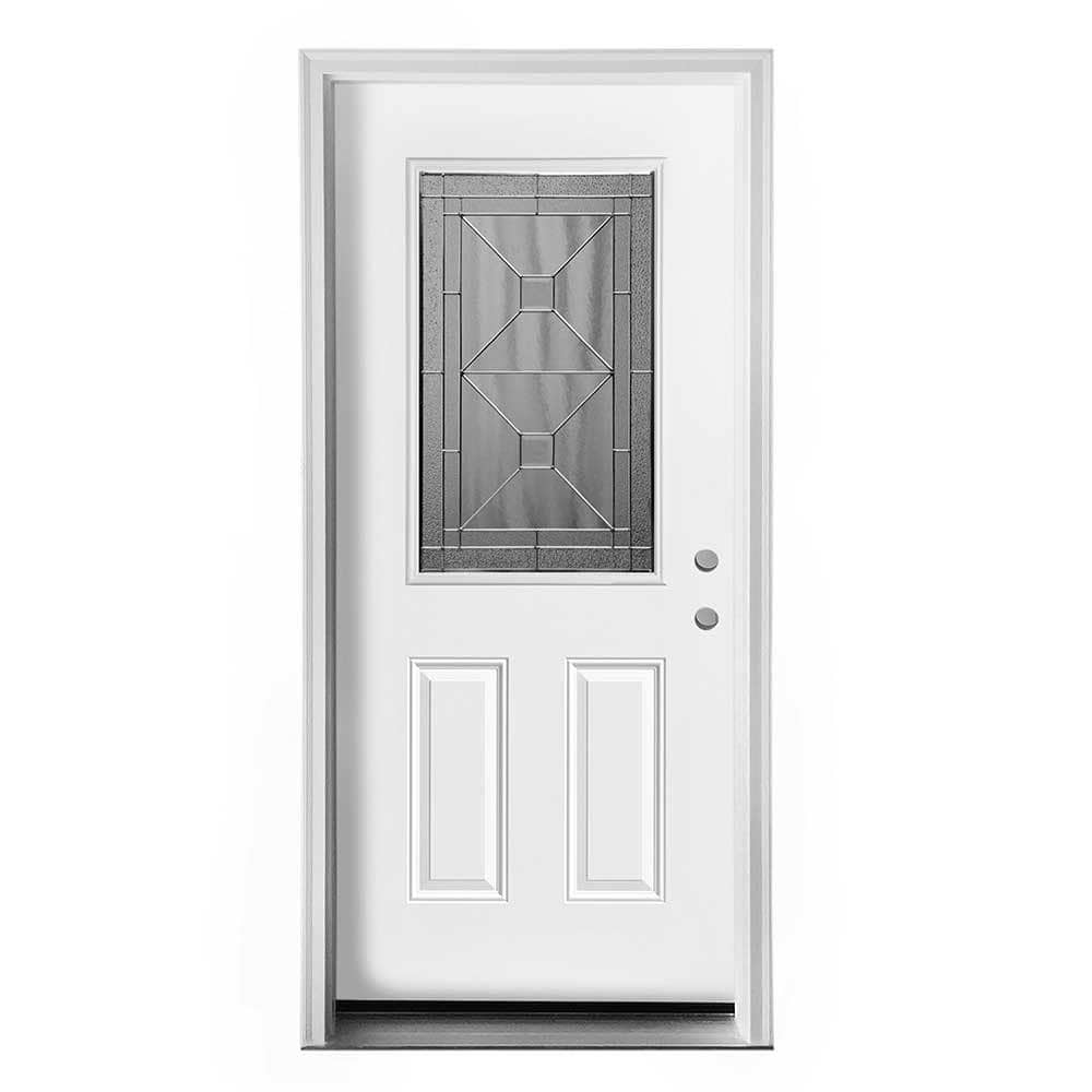 New Concept Exterior Doors Pre Hung Steel Crossroads Collection White Pre Finished Left Hand
