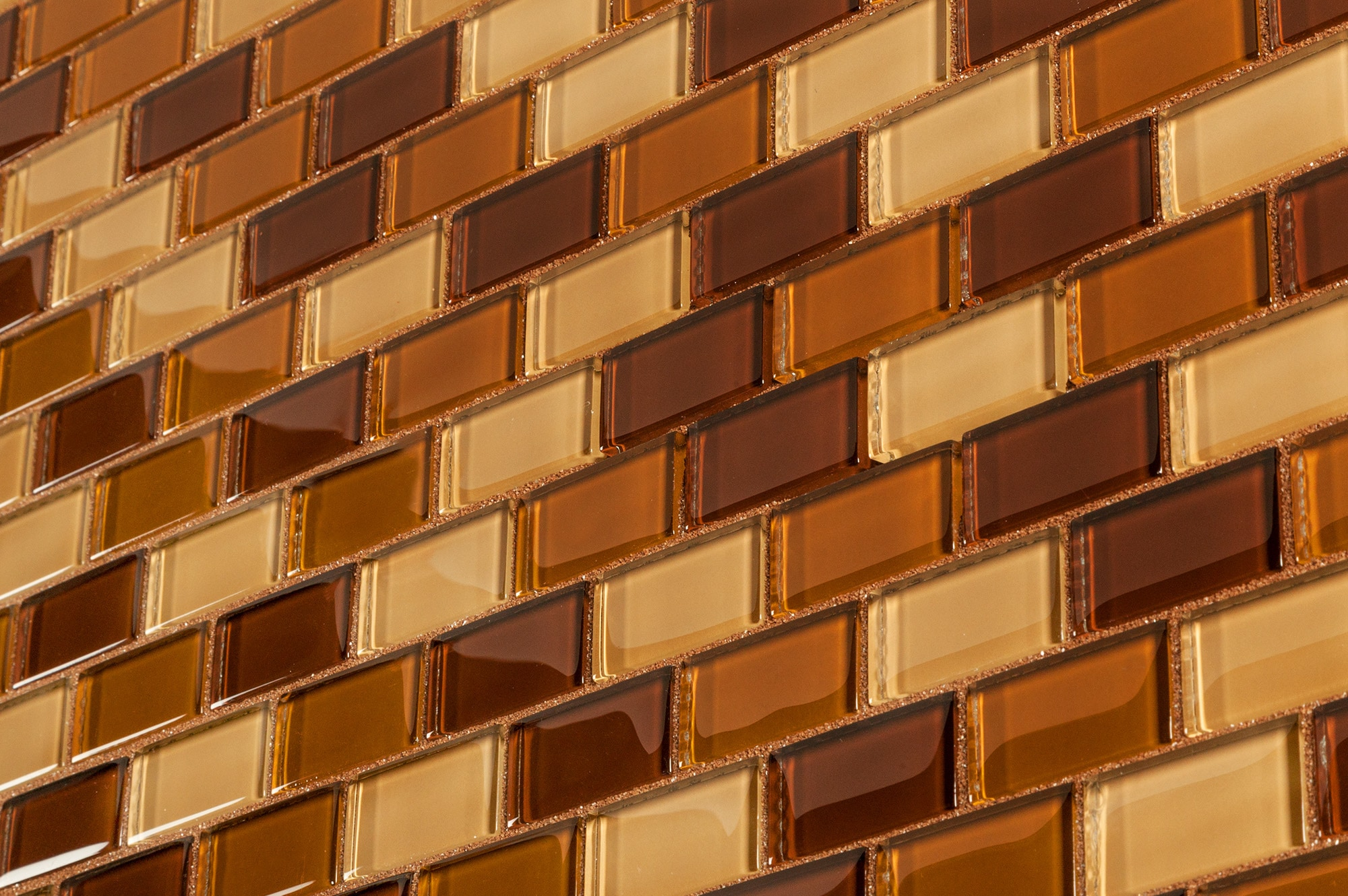 "Brown Brick Blend / 1""x2"" Glass Mosaic - Crystalized Glass Blend Series 0"
