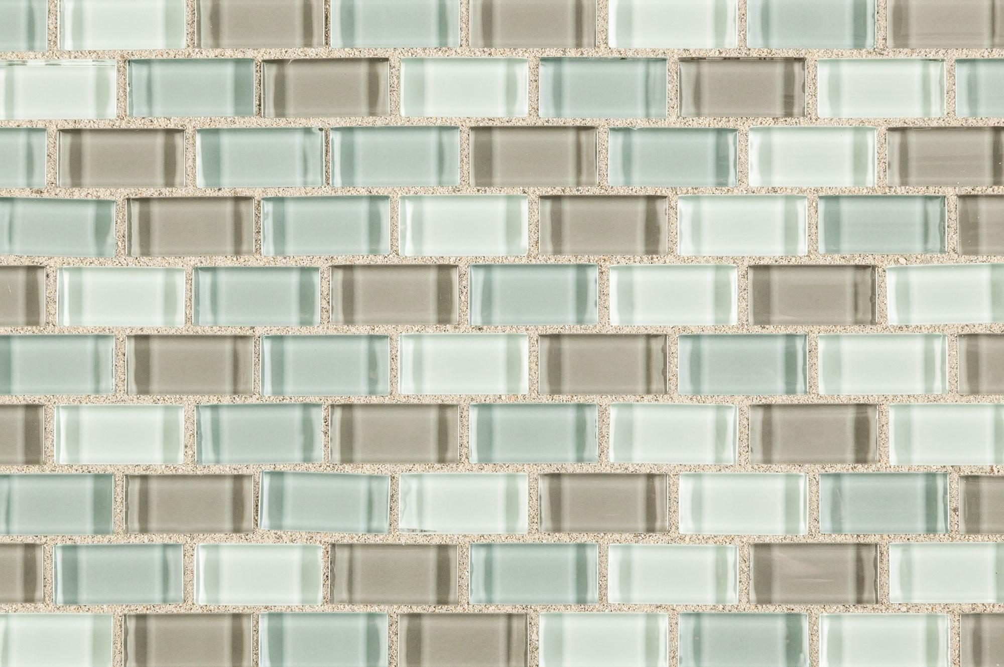 Majestic Ocean Mini Brick / Mini Brick Glass Mosaic - Crystalized Glass Blend Series 0