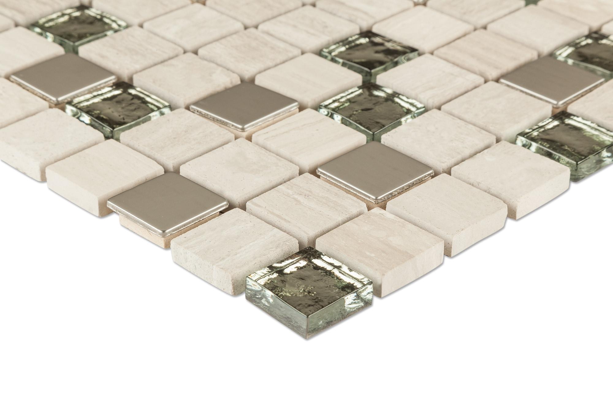 """cabot mosaic tile - glass stone blends castle rock / 1""""x1"""""""