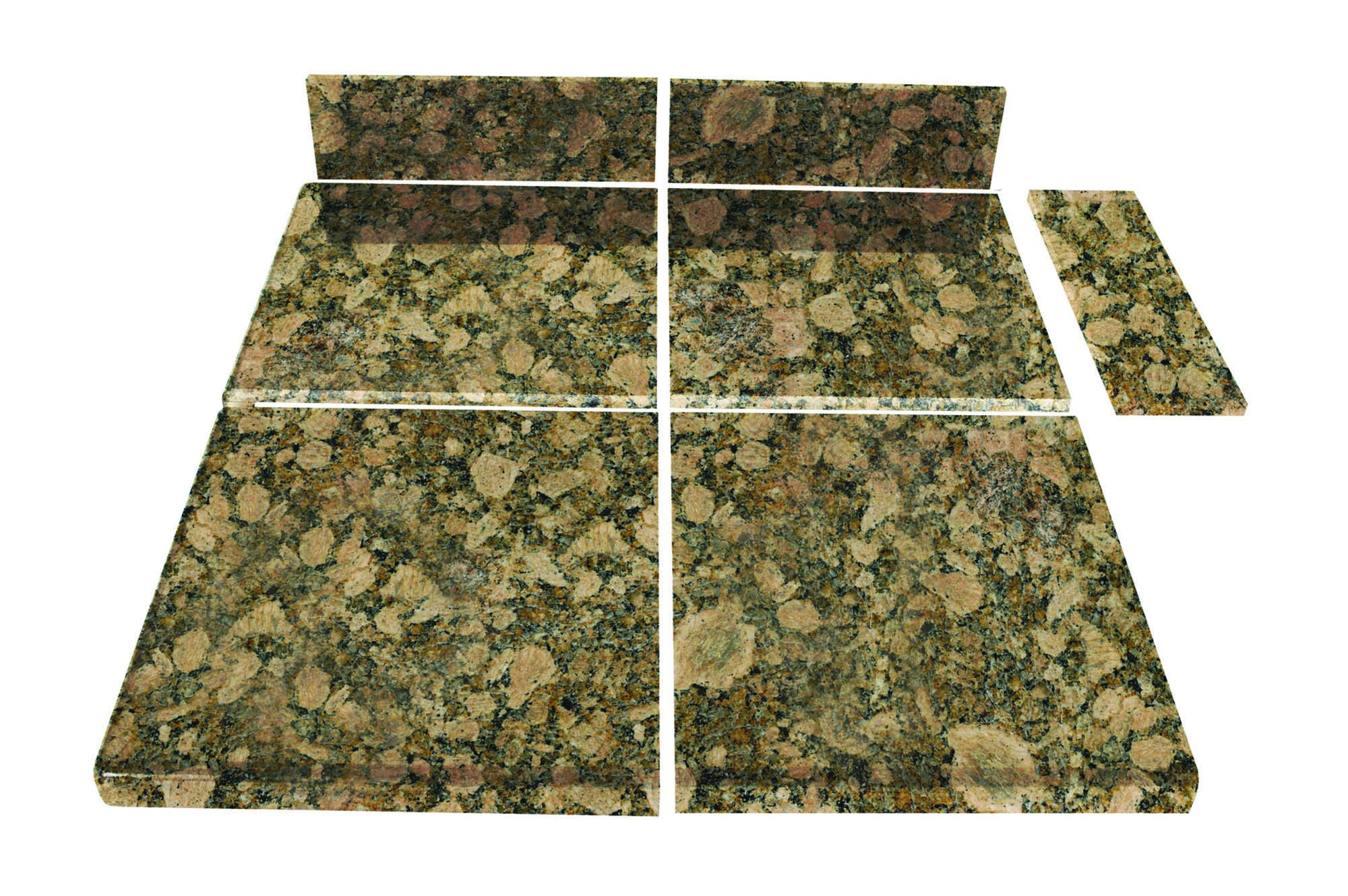 Pedra Granite Modular Kitchen Tiles   Topstone Collection Giallo Fiorito /  End Set