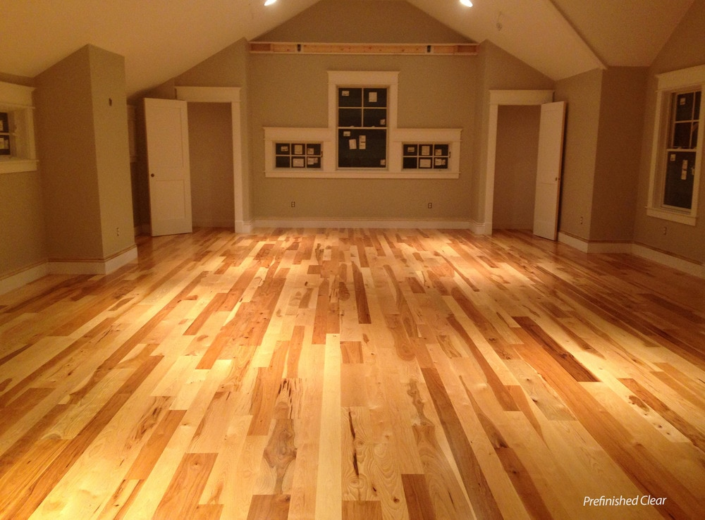 wood crafted hardwood floors hickory plank residential floor flooring view rustic mountain engineered hand fawn