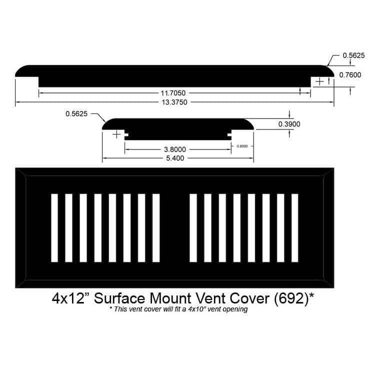 "Logan Gray / Vent - Surface Mount / 12"" x 4"" x 1"" Bamboo Moldings - 12mm Click Lock Strand Woven - Logan Gray 0"
