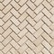 "Classic Light Beige / Herringbone Pattern 1""x2"" / Tumbled"
