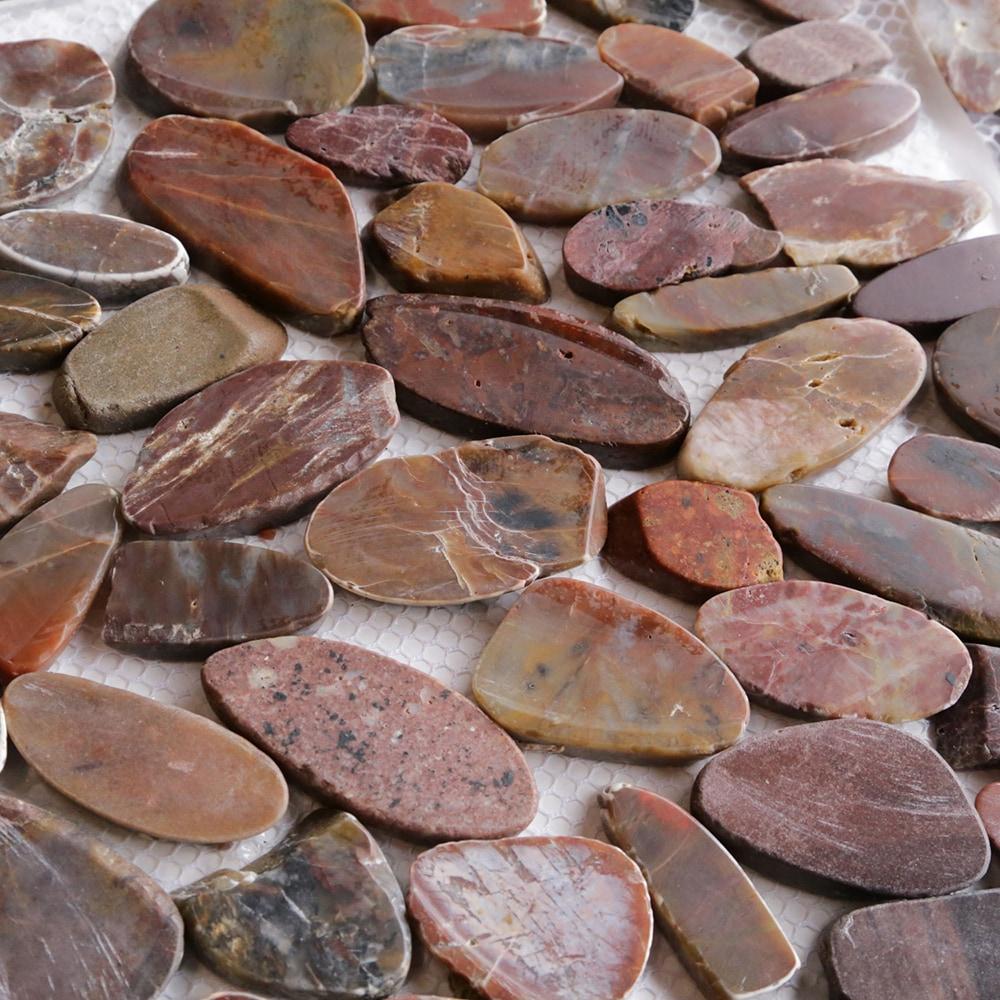 Optico Pebble Mosaic Flat Tumbled Stone Series Red Flat