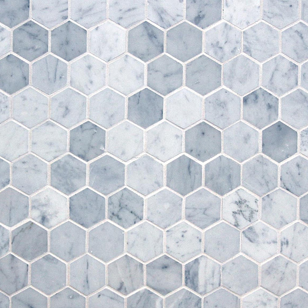 Stone Pride International Marble Mosaic Elegance Collection - 2 carrara marble hexagon floors