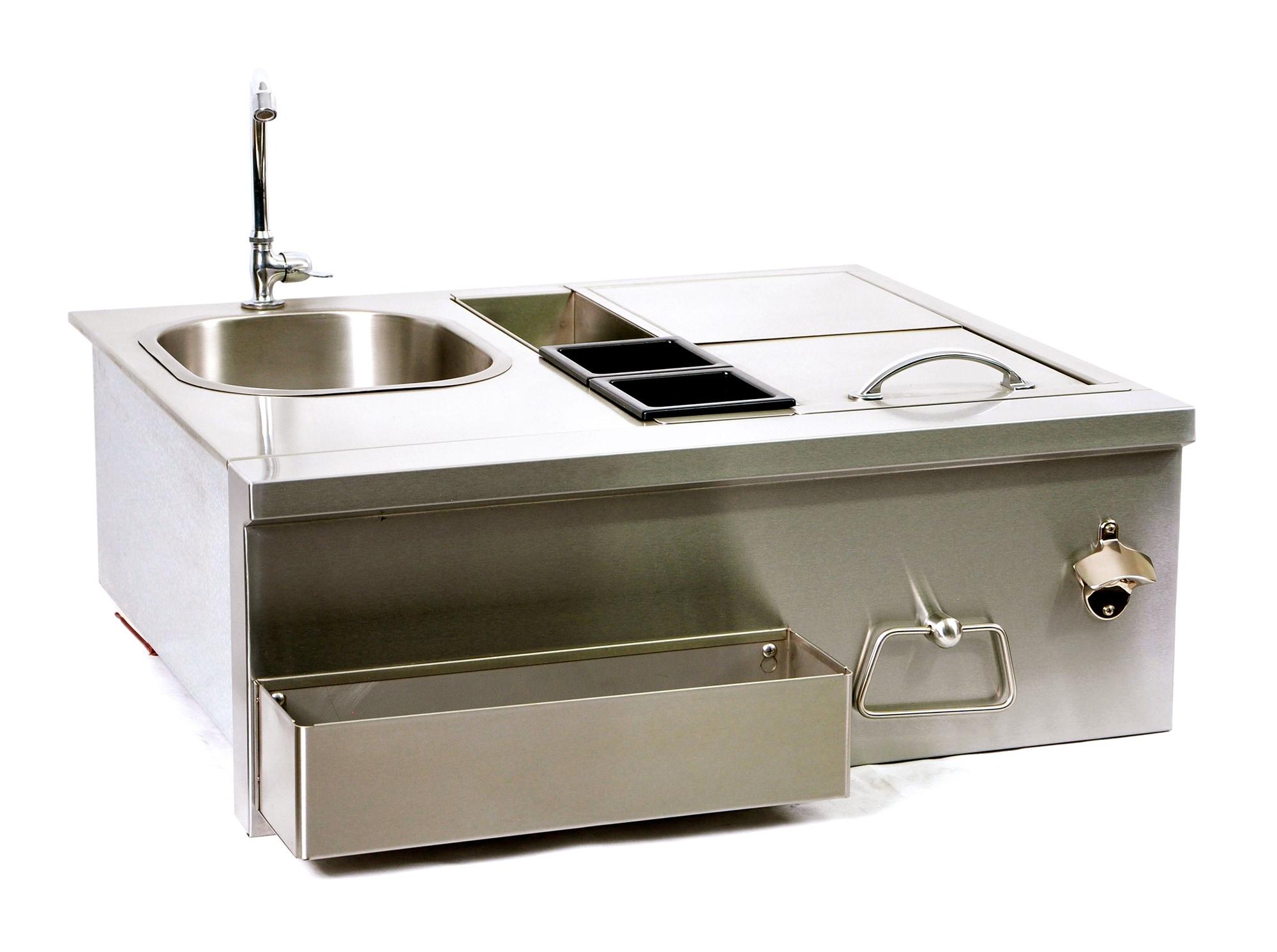 BroilChef Stainless Steel Sink & Bar Single Sink Bartender Station