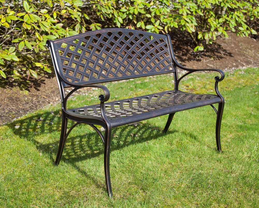 Kontiki porch seating cast aluminum benches antique bronze cast aluminum patio bench Aluminum benches
