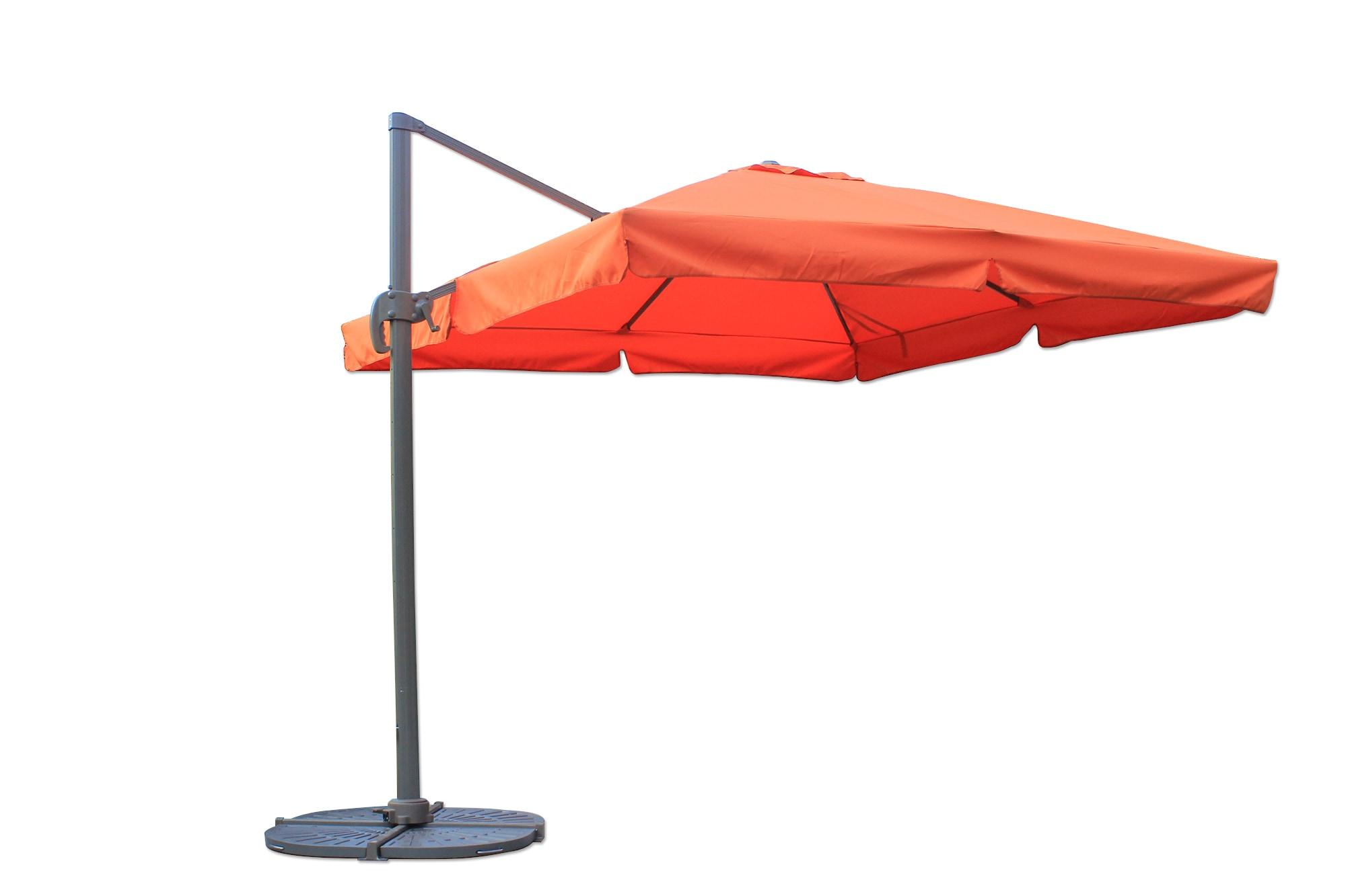 10 ft Square Offset Roma Umbrella - Terracotta Shade & Cooling Offset Patio Umbrellas 0