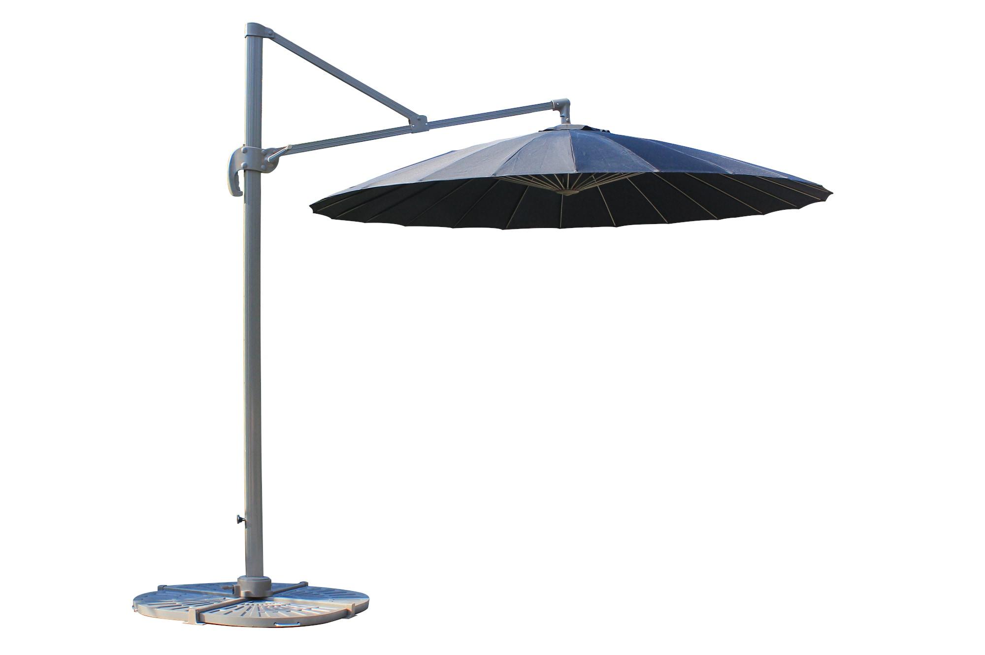 9 ft Round Fiberglass Hanging Umbrella - 360 degree swivel - Black Shade & Cooling Offset Patio Umbrellas 0