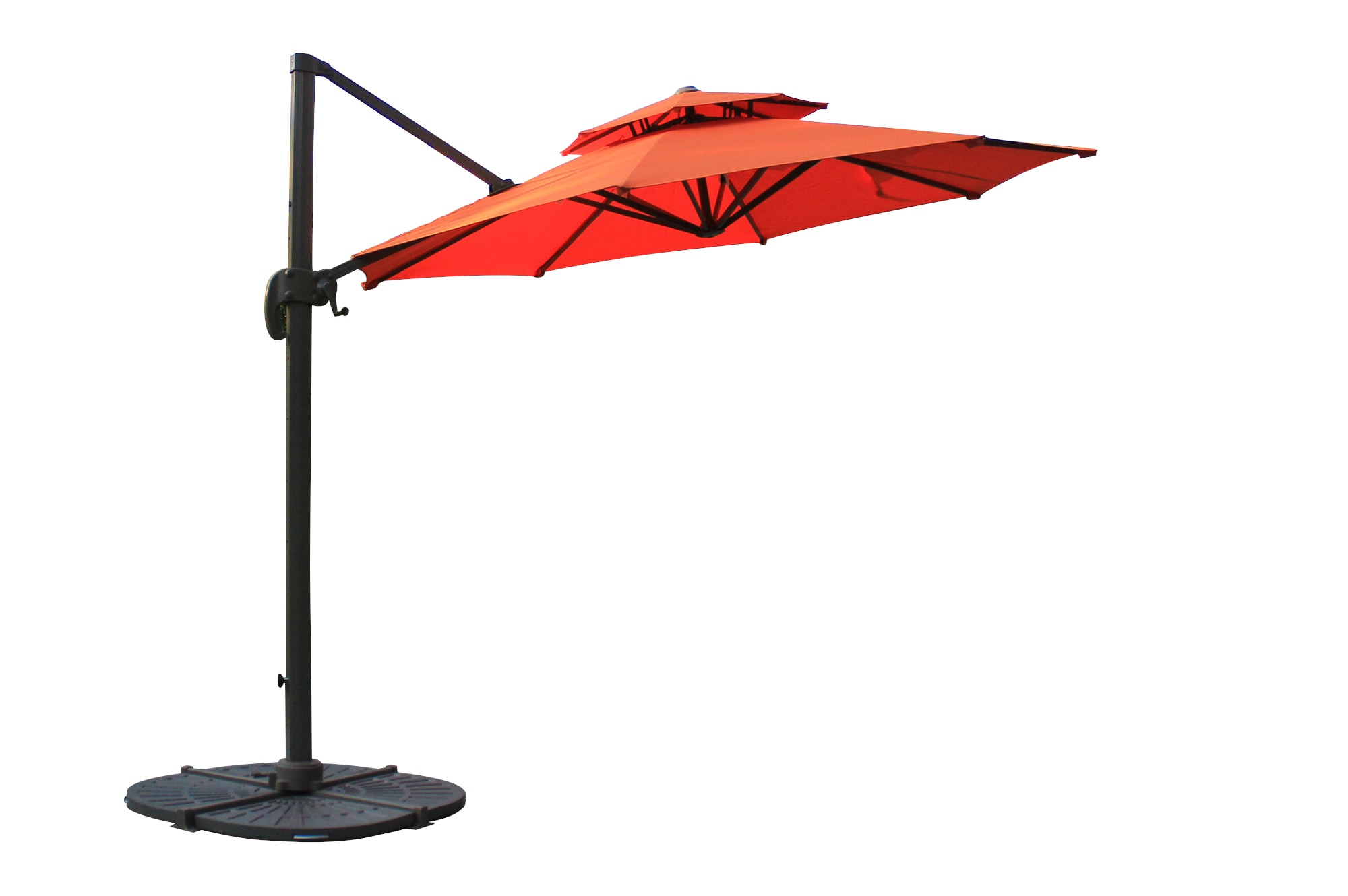 10 ft Round Offset Roma Umbrella with double layer - Terracotta Shade & Cooling Offset Patio Umbrellas 0