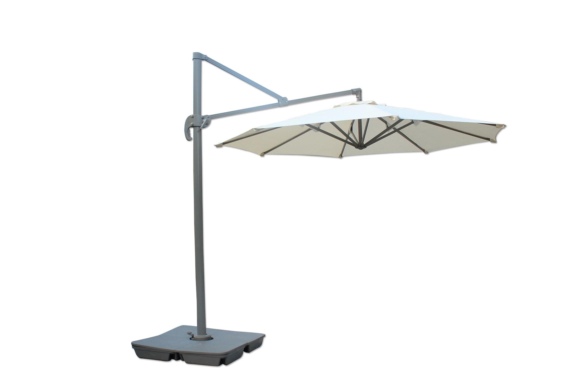 10 ft Round Offset Roma Umbrella - Taupe Shade & Cooling Offset Patio Umbrellas 0