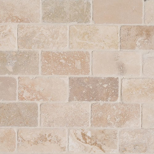 Izmir Travertine Tile Tumbled Riverbed Walnut Beige 4