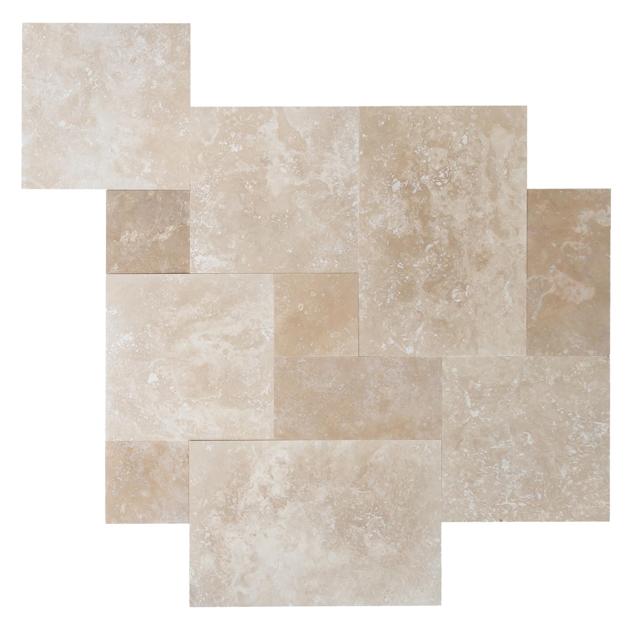 Denizli Beige Standard / Antique Pattern / Honed and Filled Travertine Tile - Antique Pattern Sets 0