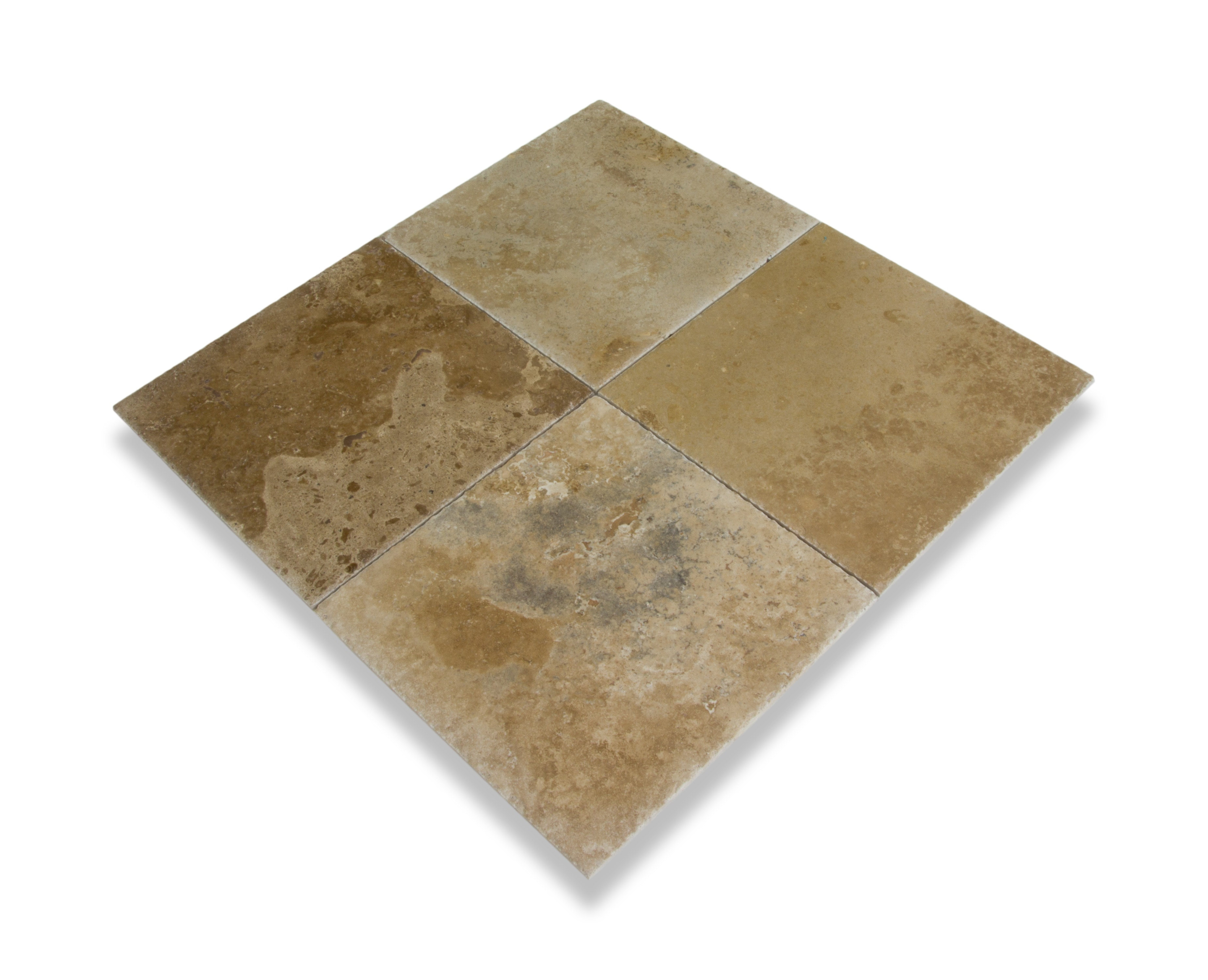 """Volcano Standard / 16""""x16""""x1/2"""" / Brushed and Chiseled Travertine Tile - Brushed and Chiseled 0"""