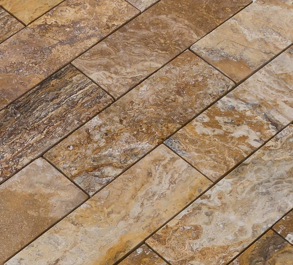 Tumbled Riverbed Walnut Beige 3: FREE Samples: Izmir Travertine Tile