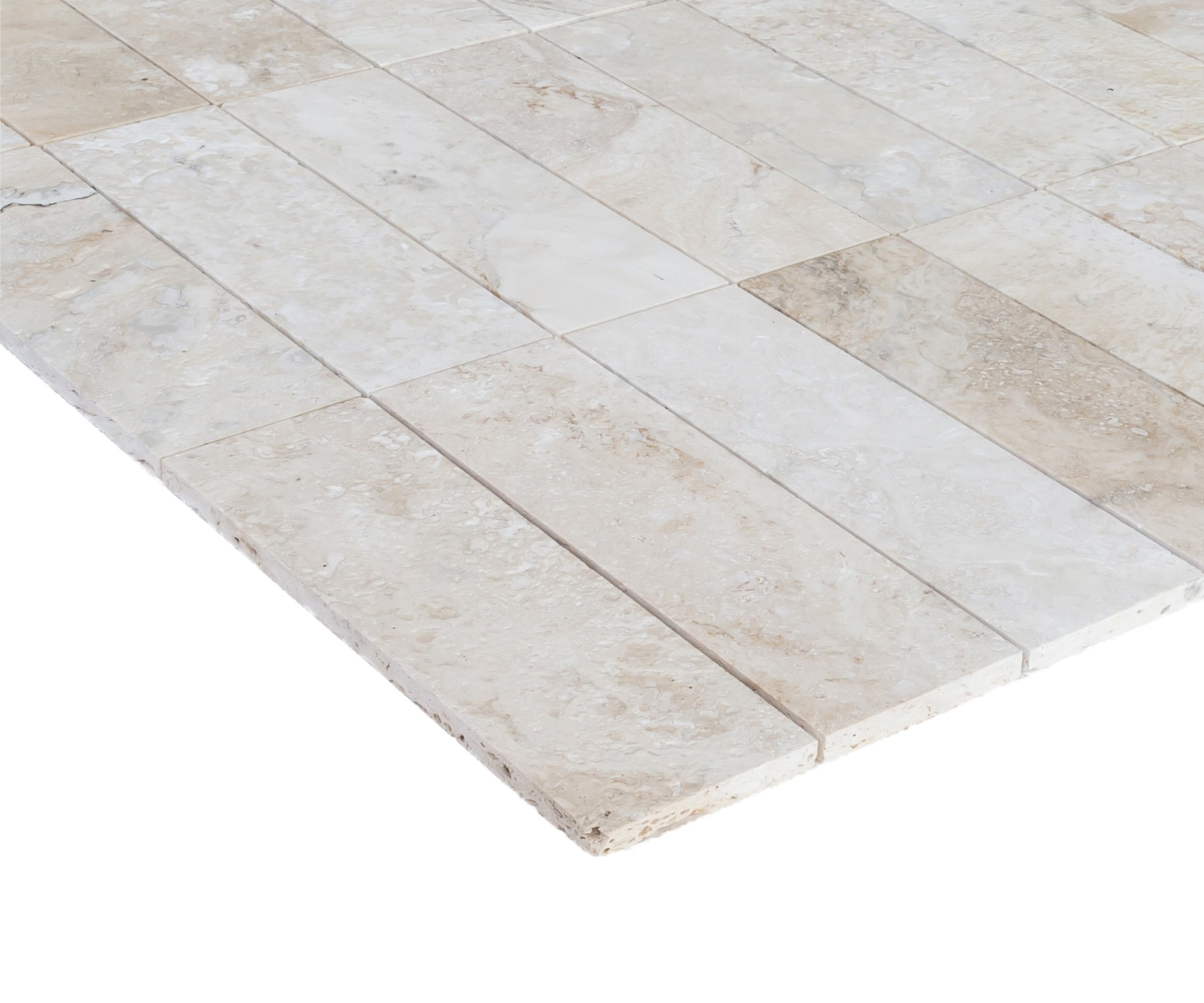 """Navona Light Ivory Standard / 4""""x12""""x1/2"""" / Brushed and Partially Filled Travertine Tile - Brushed 0"""