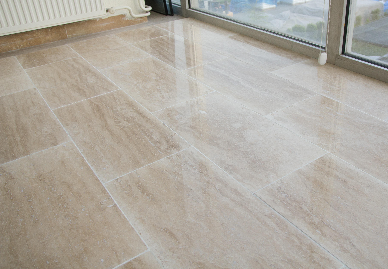 FREE Samples: Kesir Travertine Tile - Polished Beige Standard Vein ...