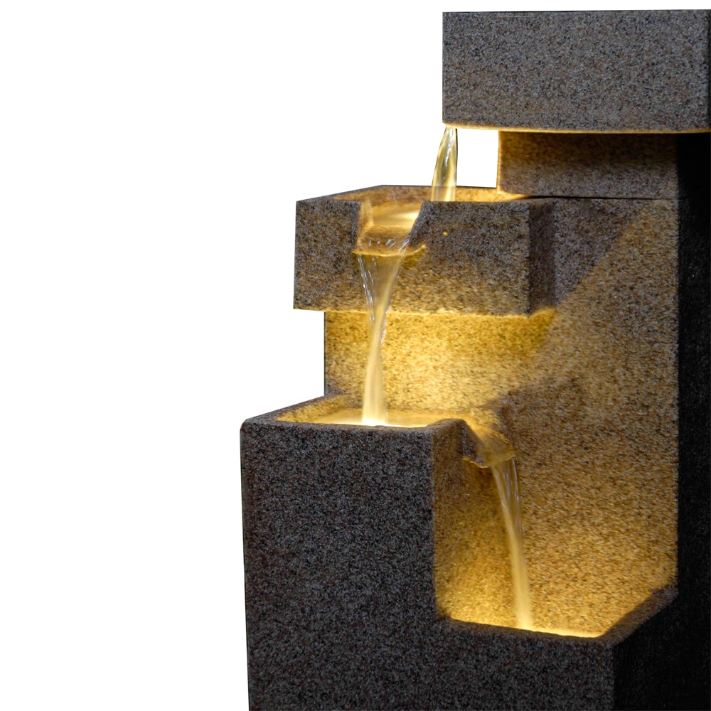 kontiki-fauxstone-sand-stone-cascade-tires-outdoor_indoor-lighted-fountain-close