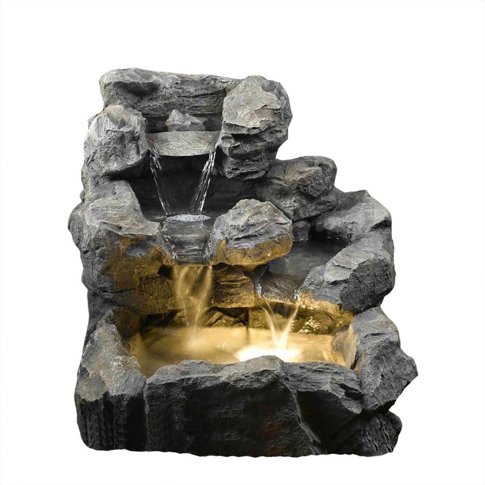 Kontiki Fauxstone Rock Creek Cascading_outdoor_indoor Fountain  With Illumination