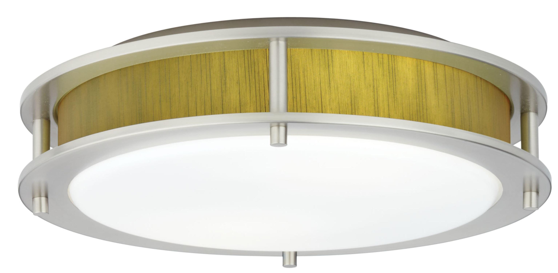 Satin Nickel / Indoor / 2 Beautility Satin Nickel 2-Light Semi-Flush with Willow Green Fabric 0