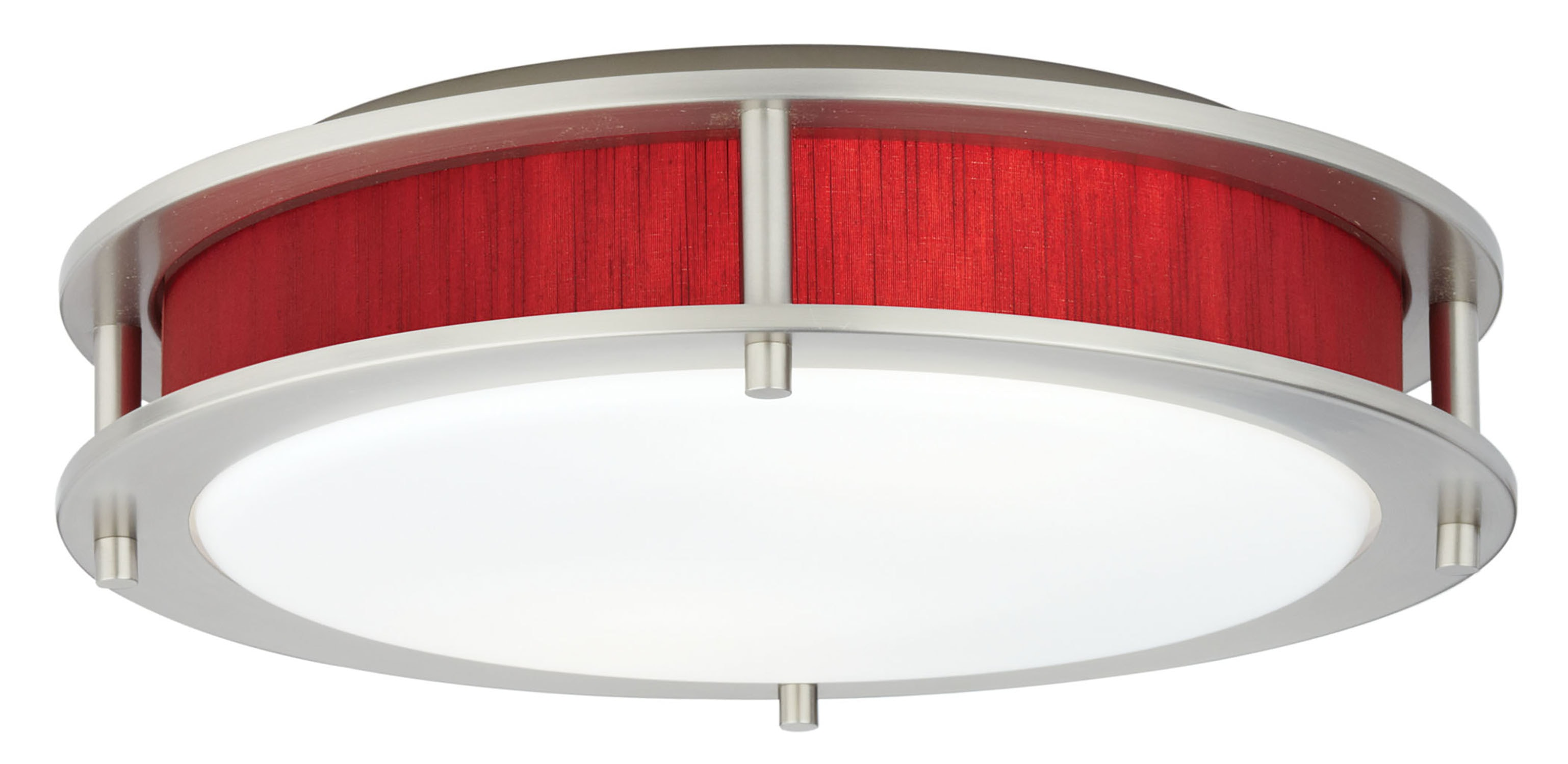 Satin Nickel / Indoor / 2 Beautility Satin Nickel 2-Light Semi-Flush with Tomato Red Fabric 0