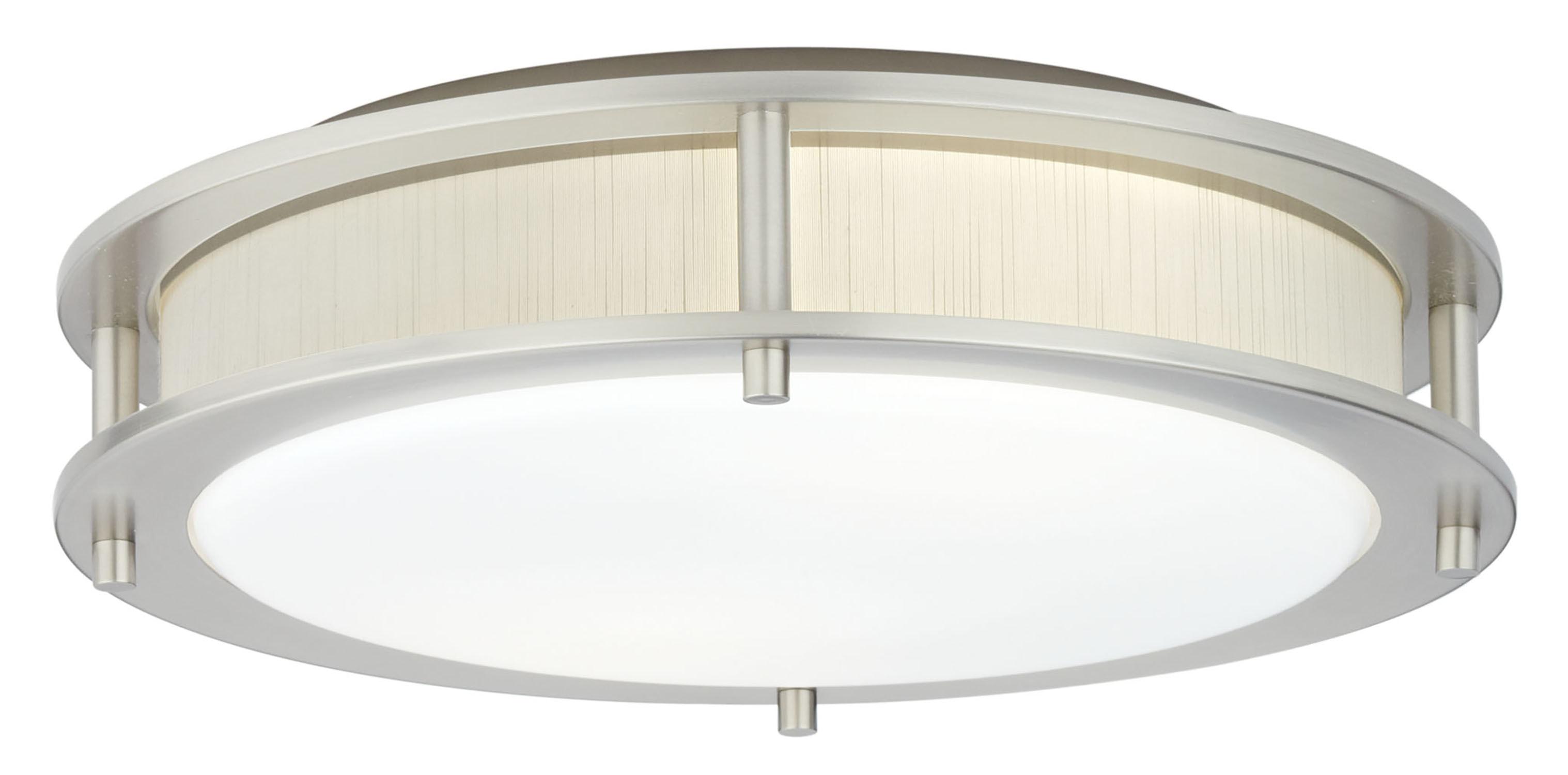 Satin Nickel / Indoor / 2 Satin Nickel 17in. Semi-Flush with Raw White Fabric Insert 0
